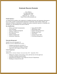 Sample Resume For High School Graduate With Little Experience     happytom co