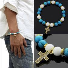 mens bracelet stones images Upper gate mens womens unisex bracelet stones turquoise white jpg