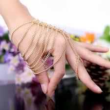 women hand bracelet images Hand chain bracelet for girls euro american golden punk style jpg