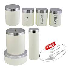 cream kosma stainless steel 7 pc storage canister set kitchen