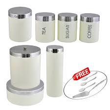 cream kosma stainless steel 7 pc storage canister set kitchen image is loading cream kosma stainless steel 7 pc storage canister
