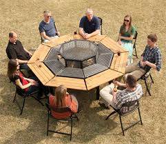 fire pit grill table combo best barbecue picnic table lets everyone cook their own meal with