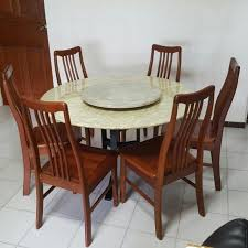 round marble dining table and chairs reduced round marble dining table 6 chairs furniture on carousell