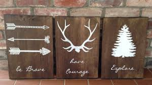 Moose Themed Home Decor by Be Brave Have Courage Explore Set Of 3 Signs Woodland