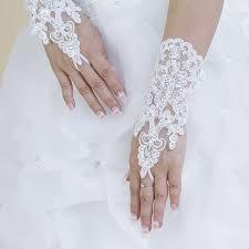 gant mariage mariée mitaines dentelle gants de mariée blanc ivoire paillettes