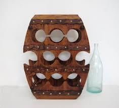 vintage wine rack large wooden barrel shape stand wood display bar