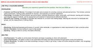 Child Care Worker Sample Resume Childcare Worker Knowledge U0026 Skills