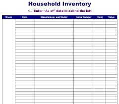 Simple Inventory Sheet Template by Editable Home Or Household Inventory And Equipment List Sheet