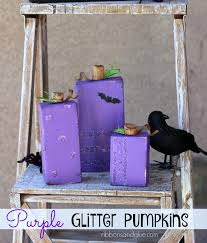 halloween wood blocks purple glitter wood pumpkins