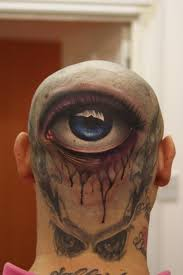 3d eye tattoo on back head
