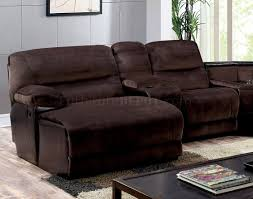 reclining sectional sofa cm6822 in brown microfiber