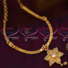 short necklace with pendant images Nl8025 flat chain american diamond star pendant south indian JPG