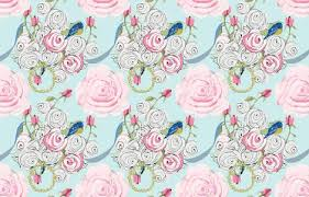 shabby chic roses bluebirds and ribbons on paris blue fabric