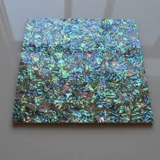 green tile iridescent abalone paua mother of pearl tiles kitchen
