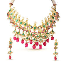 emerald green fashion necklace images Royal ruby pink and emerald green drop choker necklace set deara jpg