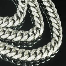 silver necklace with diamonds images Icy white simulated diamond 32in men epic miami cuban link chain jpg