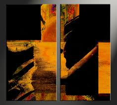 2 piece orange canvas abstract black pictures