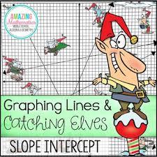 graphing slope intercept form lines christmas algebra activity