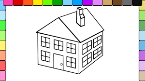 learn to color for kids and color this 3d house coloring page