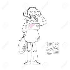 sketch teen hipster selfie cartoon taking self portrait