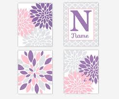 baby nursery wall art purple lavender pink gray grey dahlia