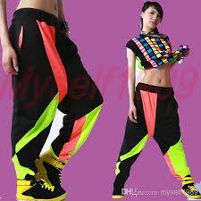 fashion womens contrast black color hip hop belly dance harem