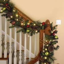 Banister Decorations For Christmas Decor Enchanting Pre Lit Garland For Christmas Decoration Ideas