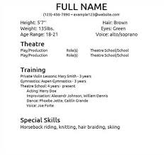 musical theatre resume template musical theater resume template theatre exles and free