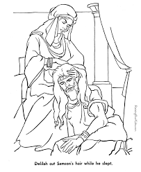 delilah cutting samson u0027s hair sleeps bible coloring