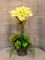 silk amaryllis and artificial succulent centerpiece two tone