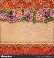 Background Of Invitation Card Golden Vintage Background Flower Garlands Of Pastel Roses Old