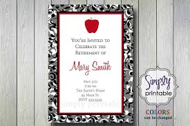 Retirement Invitation Wording Teacher Retirement Party Invitation With Apple