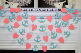 Anchor Decorations For Baby Shower Coral Heart And Anchor Garland Nautical Decorations Nautical