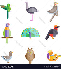 flat birds made from geometric figures royalty free vector