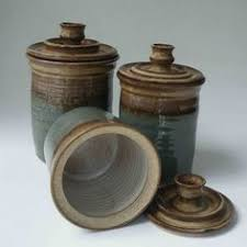 pottery kitchen canisters made to order kitchen set of 3 canisters brown with blue gray