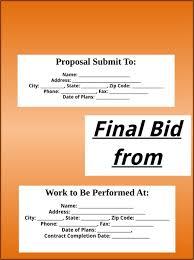 bid proposal template templates u0026forms pinterest proposal