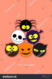 halloween pink background pumpkin ghost bat owl cat spider on pink background for