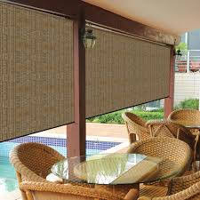 Wind Screens For Patios by Coolaroo Walnut Cordless Exterior Roller Shade 120 In W X 96 In