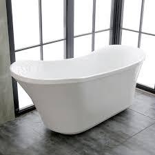 schon colton 525 ft center drain freestanding bathtub in glossy