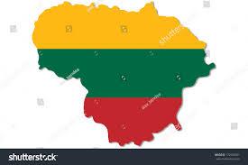 The National Map Outline Lithuanian Map Filled National Flag Stock Illustration
