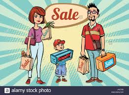 comic book color family dad mom and son with shopping on sale comic book cartoon