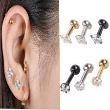 earrings on top of ear 2 pcs women new silver gold cartilage stud earring