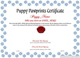 puppy paw prints template free certificate templates you can