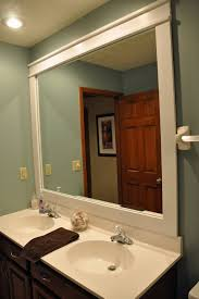 Wood Framed Bathroom Mirrors by Bathroom Square Rustic Framed Bathroom Mirror With Top Lighting