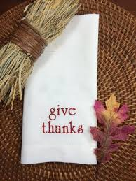 thanksgiving napkins white tulip embroidery