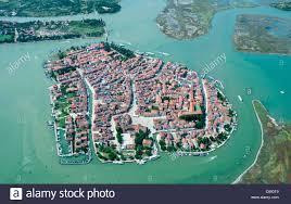 Burano Italy Aerial View Of Burano Island Venice Lagoon Italy Europe Stock