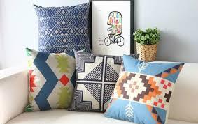 Modern Throw Pillows For Sofa Aztec Geometric Cushion Cover Japanese Japan Style Linen Throw