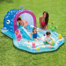 intex inflatable whale play center with sprayer walmart com