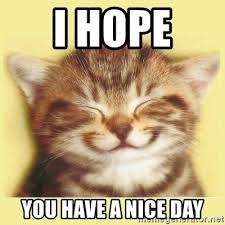 Have A Nice Day Meme - i hope you have a nice day very happy cat meme generator