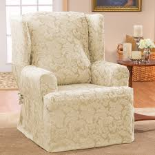 bedroom pretty white flower pattern of cute wing chair recliner